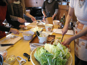 白菜の茶布蒸しの白菜の下ごしらえ。